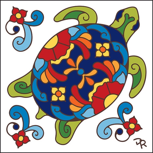 6x6 Tile Talavera Turtle 7826A