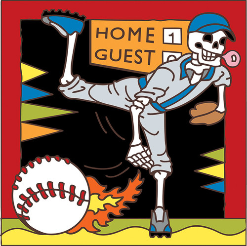 6x6 Tile Day of the Dead Baseball 7470A