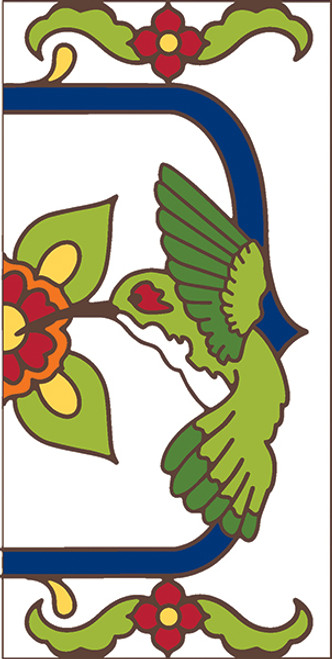 3x6 Tile House Number White Talevera Hummingbird Right End 3061AR