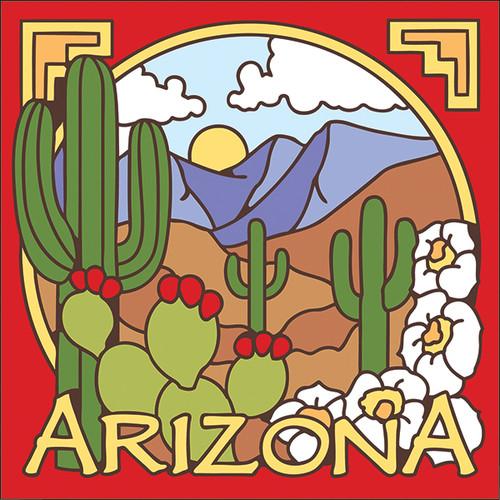 6x6 Tile AZ Saguaro Desert Scene