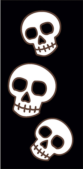 3x6 Tile Black Day of the Dead Three Skulls Right End