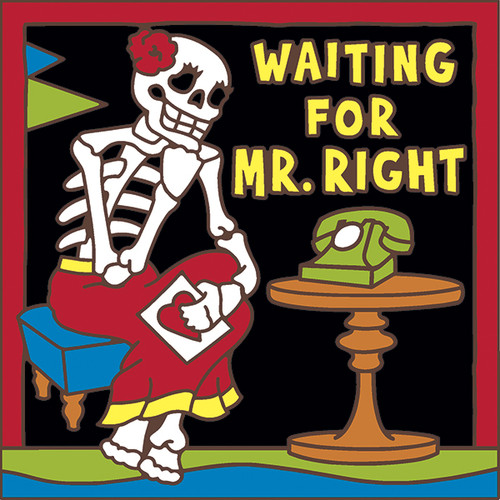 6x6 Tile Day of the Dead Waiting for Mr. Right