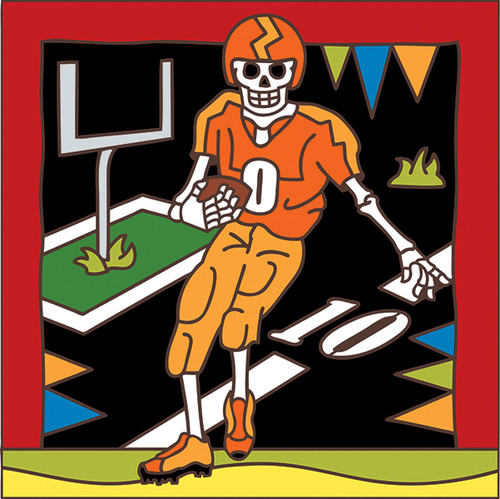 6x6 Tile Day of the Dead Football 7471A