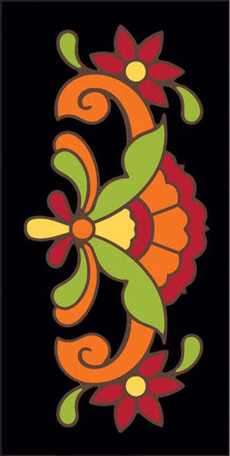 3x6 Tile Talavera Design Black