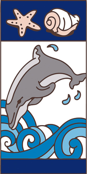 3x6 Tile Nautical Dolphin Right
