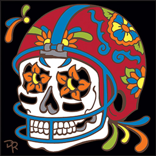 6x6 Tile Day of the Dead Football Sugar Skull