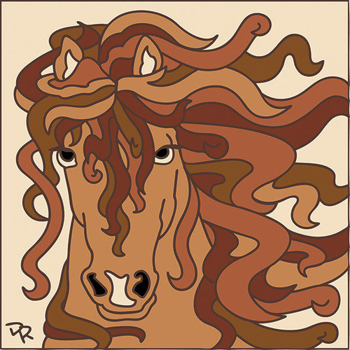 6x6 Tile Curly Mane Horse 7517A