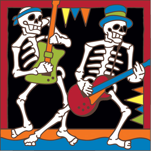 6x6 Tile Day of the Dead Heavy Metal Guitar Players