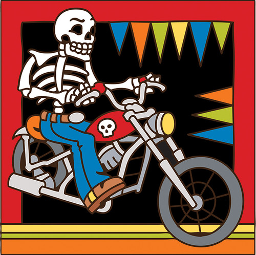 6x6 Tile Day of the Dead Biker