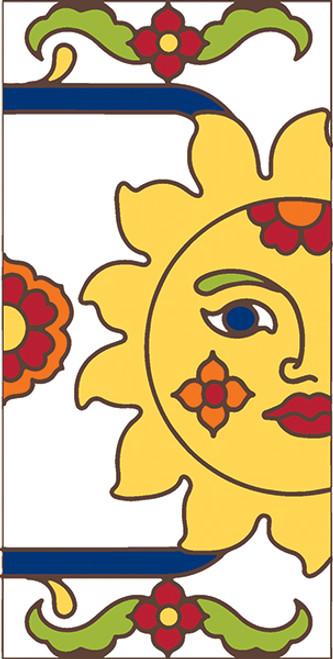 3x6 Tile White Talavera Sun Right End