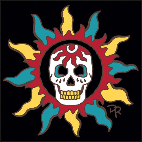 6x6 Tile Southwest Sun with Skull 8356A