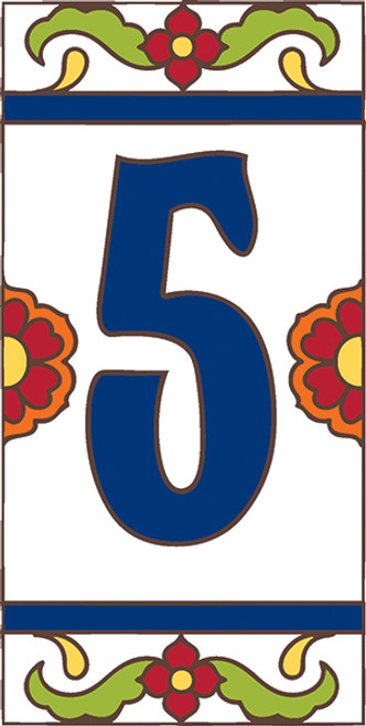 3x6 Tile House Number White Talavera #5