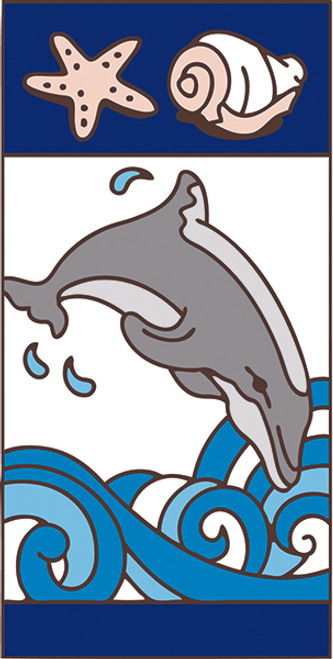 3x6 Tile Nautical Dolphin Left