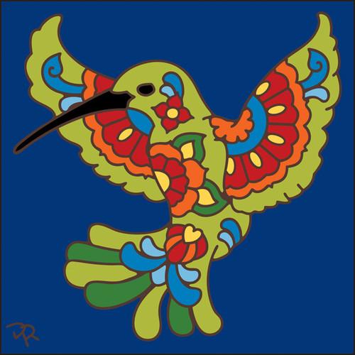 6x6 Tile Talavera Hummingbird Cobalt 8011C