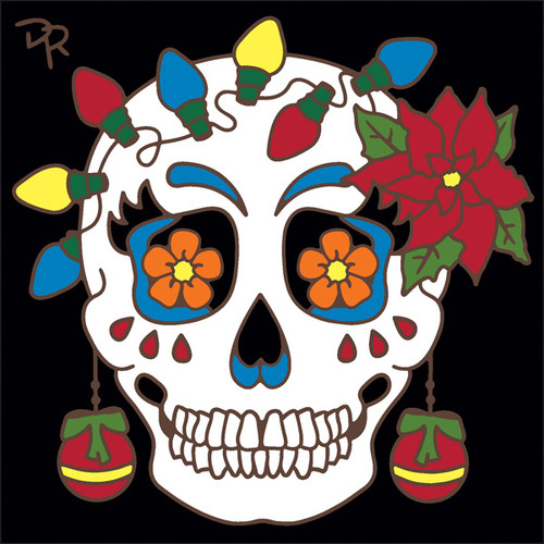 6x6 tile day of the dead miss christmas spirit sugar skull - Christmas Sugar Skull