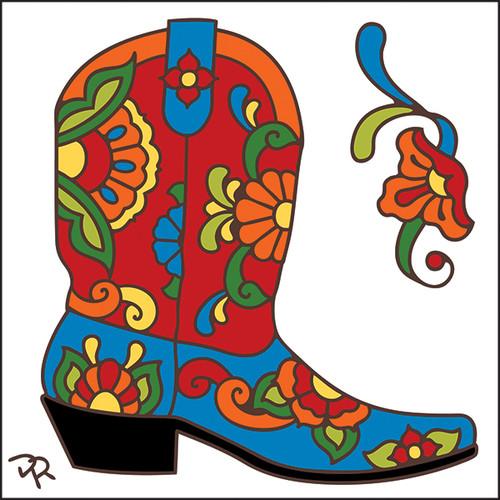 6x6 Tile Talavera Boot White 8009W
