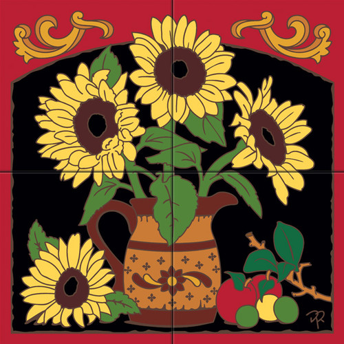 Tile Mural Country Kitchen Sunflowers