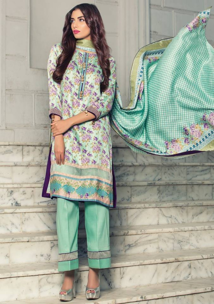 Imperial Grace 3 Piece Resham Twill Linen Collection - 36-SEA GREEN