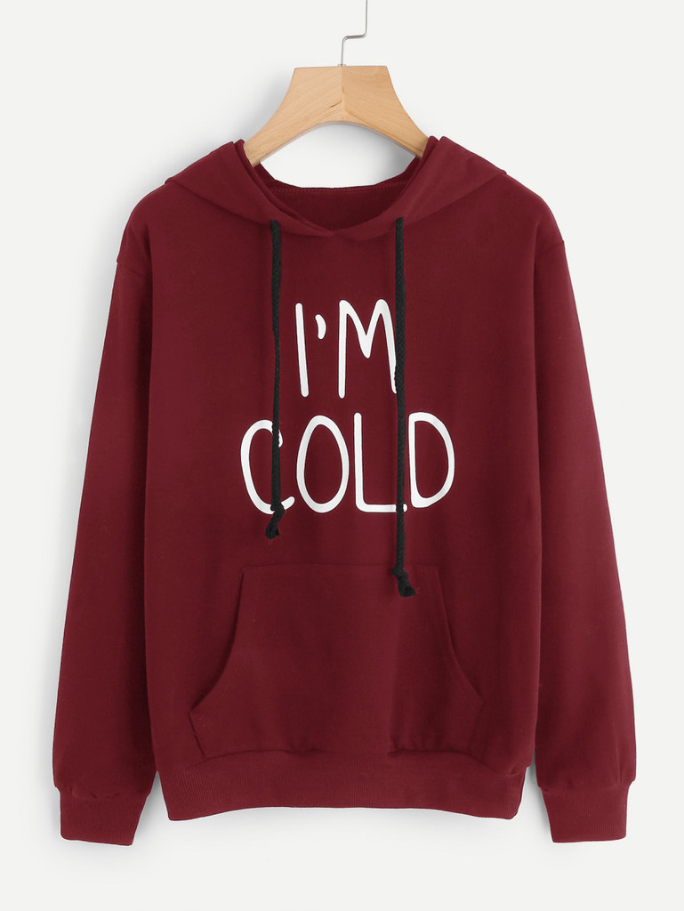Fifth Avenue I'm Cold Print Hoodie - Maroon