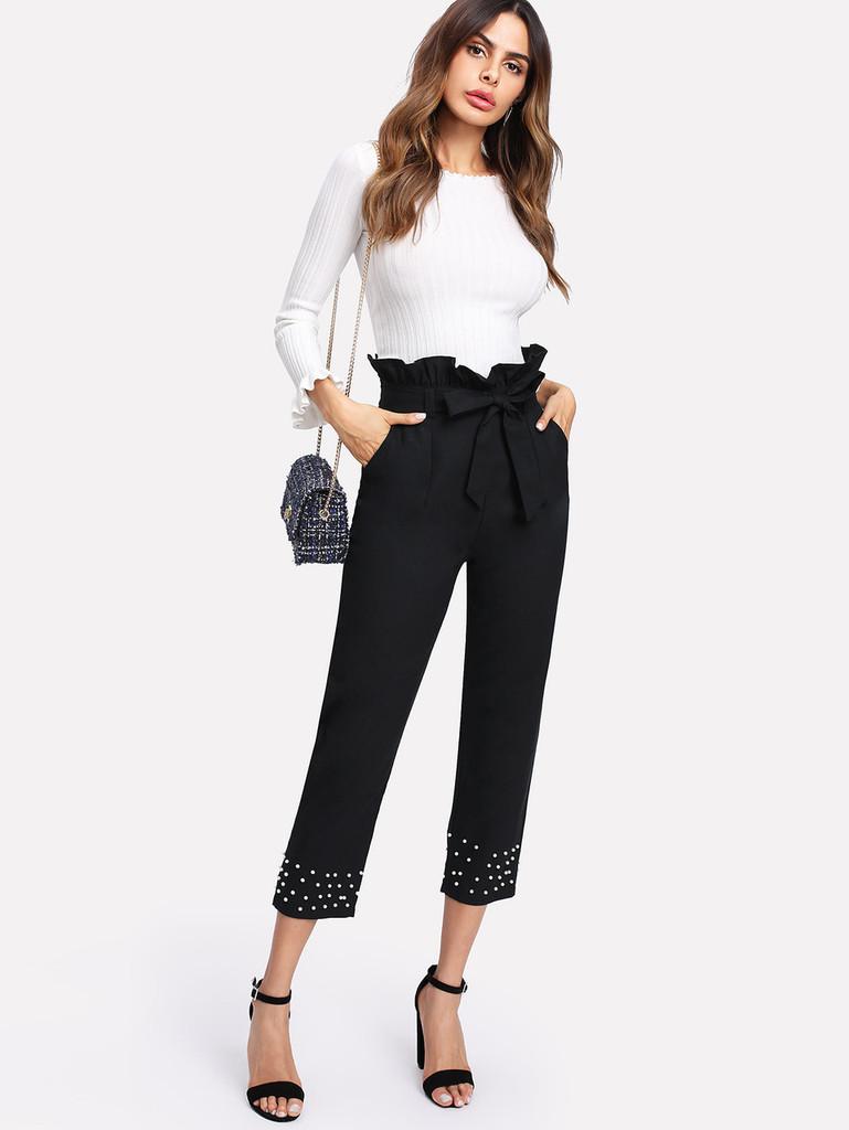 Fifth Avenue Women's Frill Beaded Paper Bag Waist Pants - Black