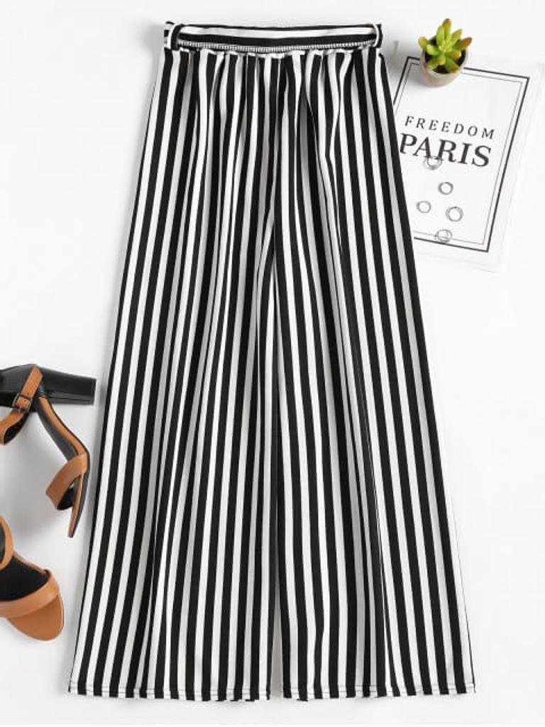 Fifth Avenue Viscose TENZZ Stripe Tie-Waist Full Length Wide Leg Pants