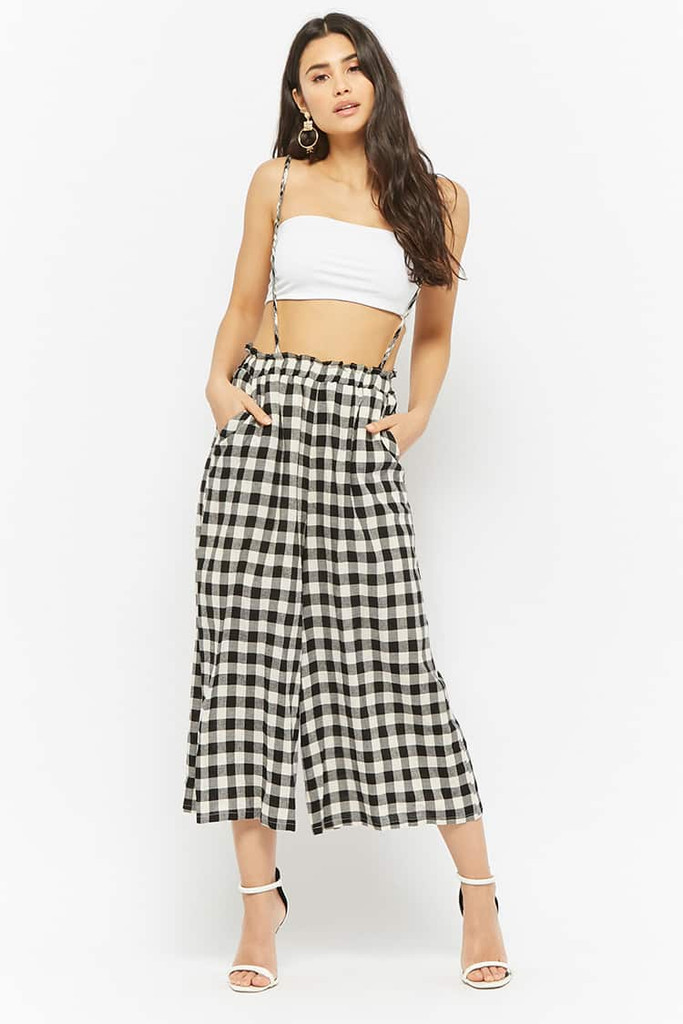 Fifth Avenue Women's Gingham Suspender Wide Leg Culotte Pants - Black and White