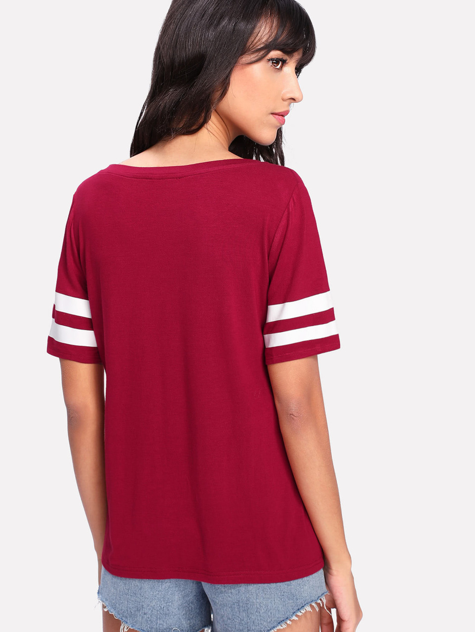Fifth Avenue Women's RYZA Round Neck Striped T-Shirt - Red