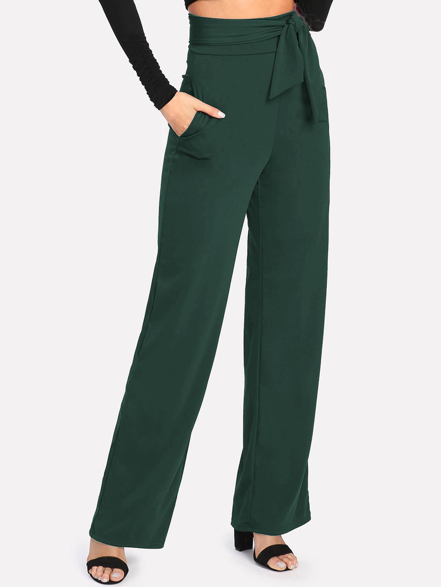 Fifth Avenue Women's NESS Tie Waist Pants - Green