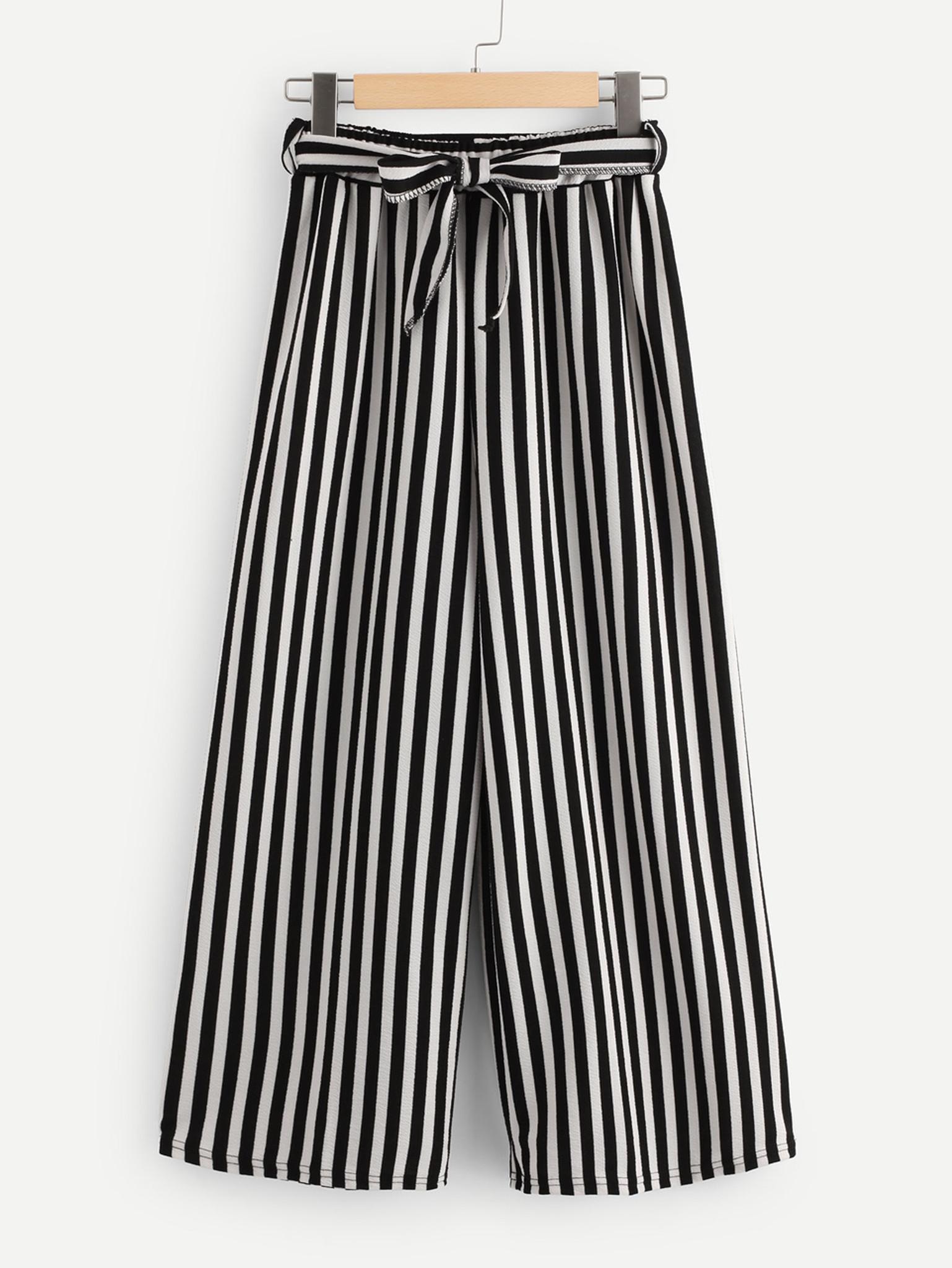 Fifth Avenue Viscose MOJA Stripe Tie-Waist Culotte Pants