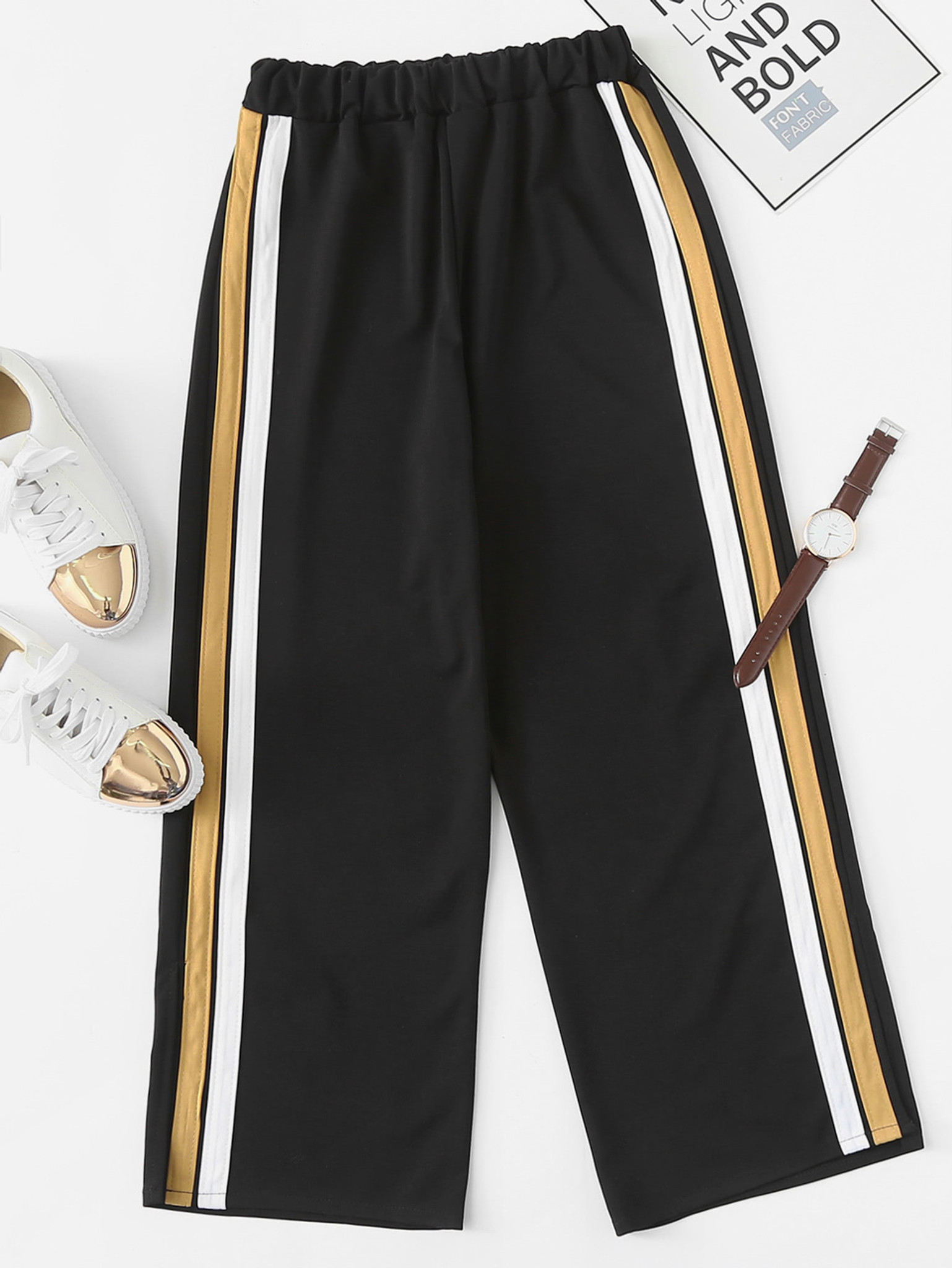Women's Tornado Striped Wide Leg Pants by Fifth Avenue - Brown and White