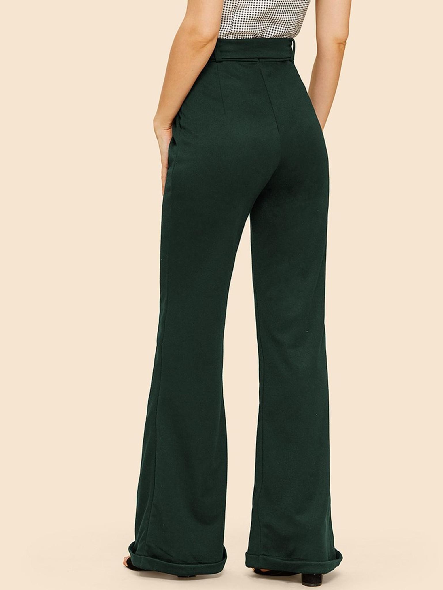 Fifth Avenue Womens NIXX Flare Cuffed Wide Leg Pants - Green