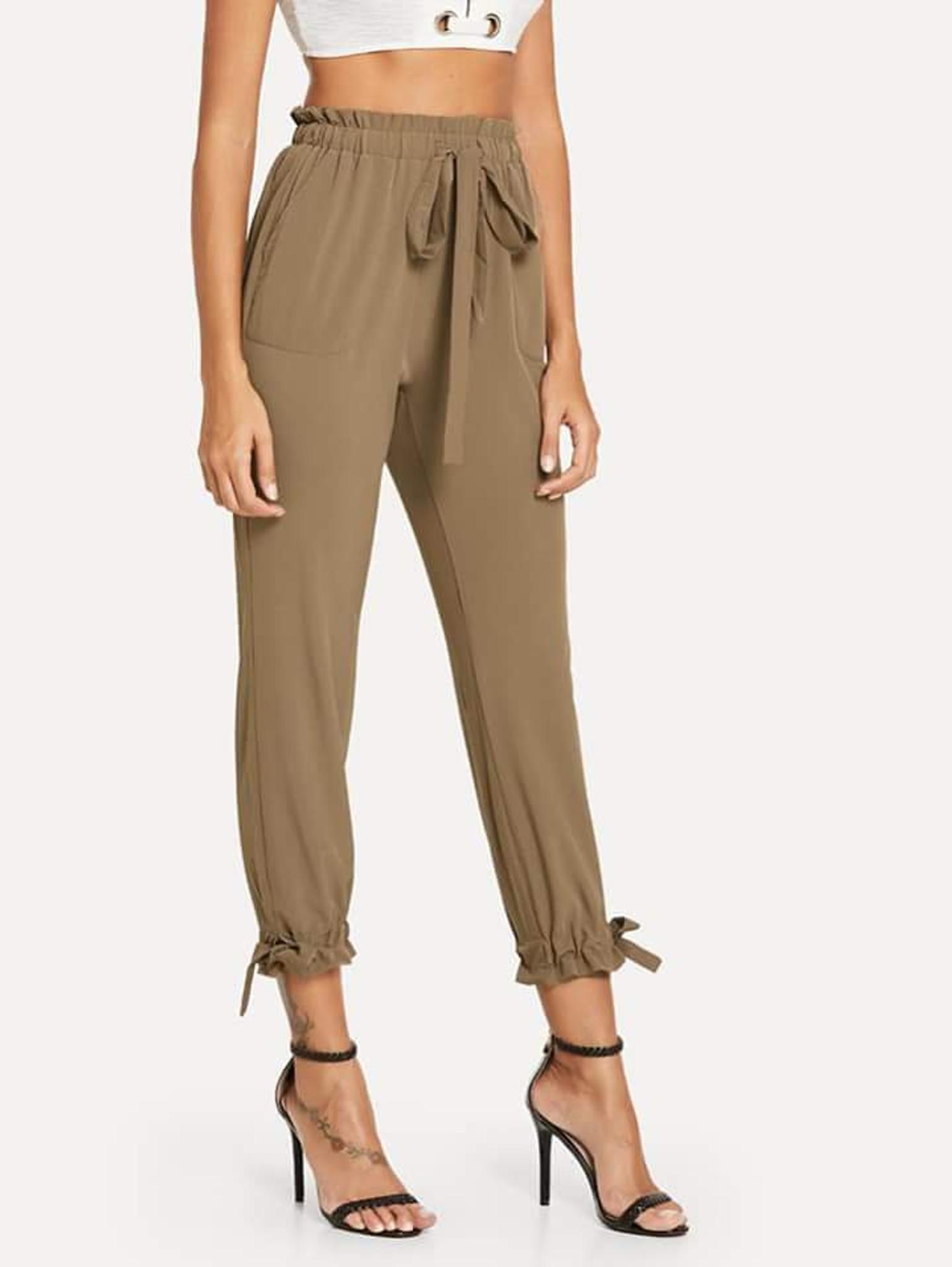 Fifth Avenue Womens HIKK Tie Waist and Elastic Ankle Pants - Brown
