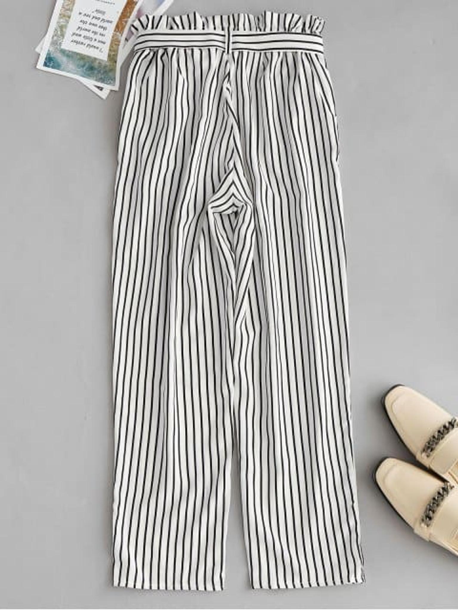 Fifth Avenue Womens NIPT Tie Waist Striped Cotton Pants - White