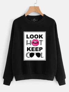 Fifth Avenue Look Hot Keep Cool Printed Sweatshirt - Black