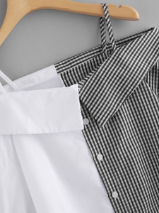 Fifth Avenue Women's REXT Color Block Gingham Top - Black and White