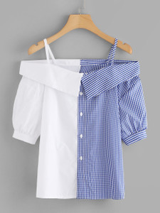Fifth Avenue Women's REXT Color Block Gingham Top - Blue and White