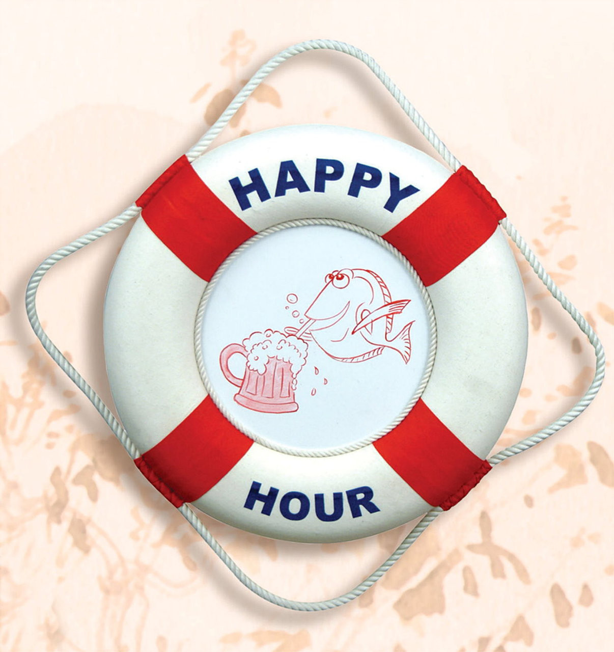 Red white happy hour life buoy nautical decor store for Big fish happy hour