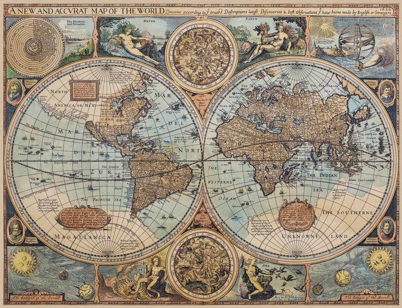 Vintage world maps for the home office and executive gift antiqued nautical world map print gumiabroncs Images