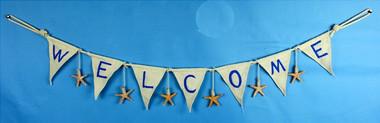"40"" Starfish Welcome Flag Banner Garland"
