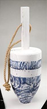 """Nautical 17"""" Blue Wood Buoy Fishing Float"""