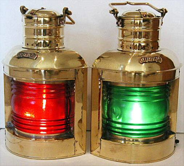 Large Nautical Brass Red Green Lamp Set