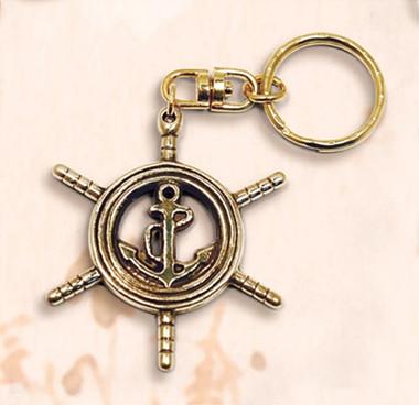 Ship Wheel Anchor Combination Key Chain Nautical Decor