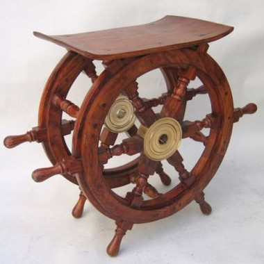 Coastal Decor Ship Wheel Accent Table
