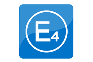 Two shades of blue form a background for the white outline of a circle. Inside the circle in white text is an E and a 4 in the style of the E4 logo for safety certification at internationally-recognized testing standards.