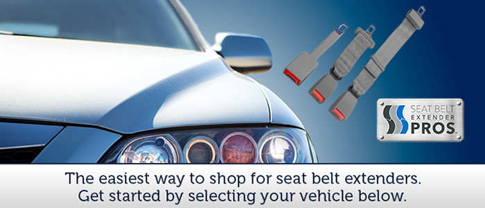 A white car pictured next to three gray seat belt extensions of different varieties with the Seat Belt Extender Pros logo in the bottom right corner. The text says, The easiest way to shop for seat belt extenders. Select your vehicle below to get started.