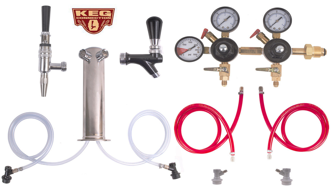 2 Faucet Tower Cold Brew Coffee & Nitrogen Infused Kit - Kegconnection