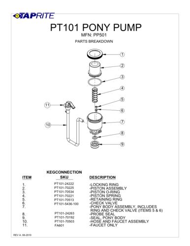 Beer Tap Embly Diagram | Pony Pump Parts Kegconnection