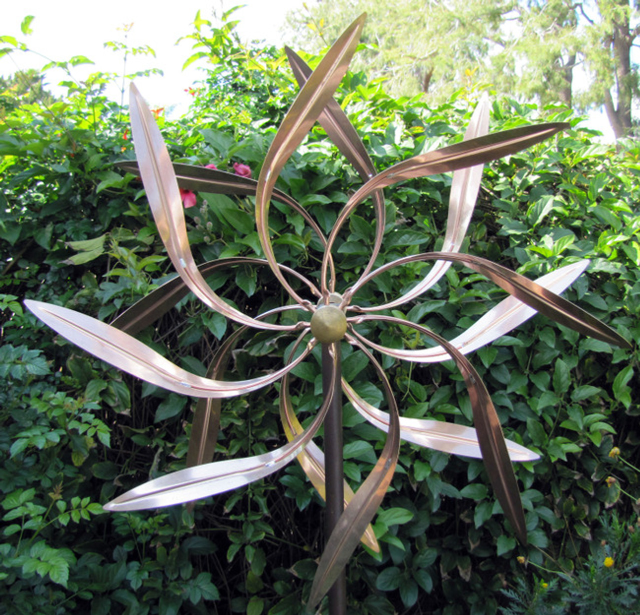 Stanwood Wind Sculpture Kinetic Copper Dual Spinner