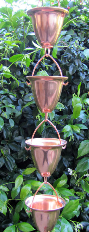 Stanwood Rain Chain - Copper Rain Chain Large Cup/Bell 8-ft
