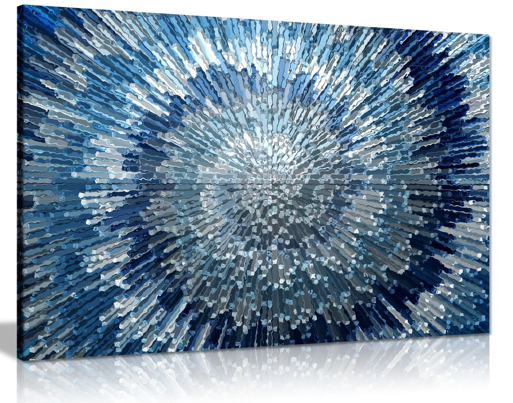 Abstract Blue Wall Art Silver Spiral Swirl Canvas